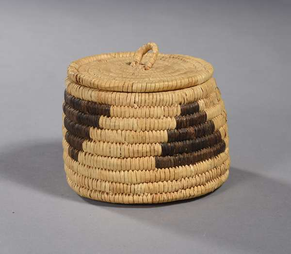 "Papago woven treasure basket, lidded, 3.5""H x 5""Dia."