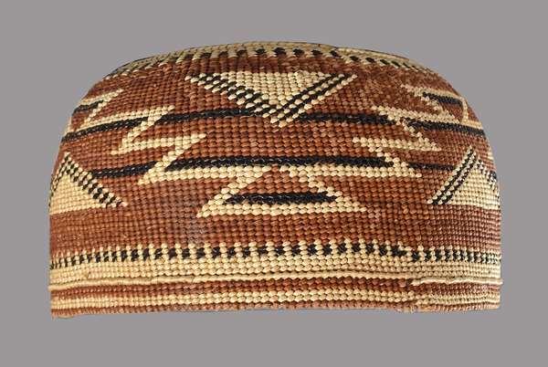 "Salmon River Hupa polychrome basketry hat, ca. 1900, intricate design, 6""Dia. x 4""H."