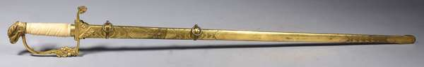 """Antique presentation sword sword, with eagle head and decorated blade with sheath 36.5""""L."""