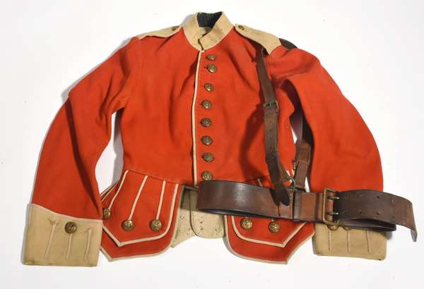 Antique British military red wool coat with belt
