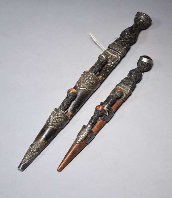 """Two Scottish sgian dubh, with multiple blades and jeweled handles, 12""""L., 18""""L."""