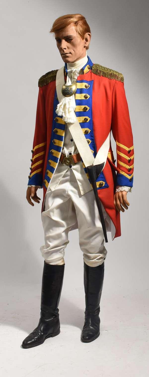"""Mannequin dress in British military red coat uniform, 72""""H."""