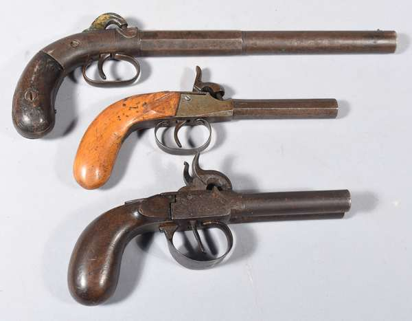 Three antique percussion pistols, including Allen & Wheelock, double barrel, other (51,60,64)
