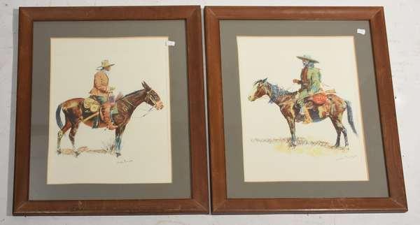 "Two framed Frederick Remington prints, cowboy on horseback, 12"" x 11"""