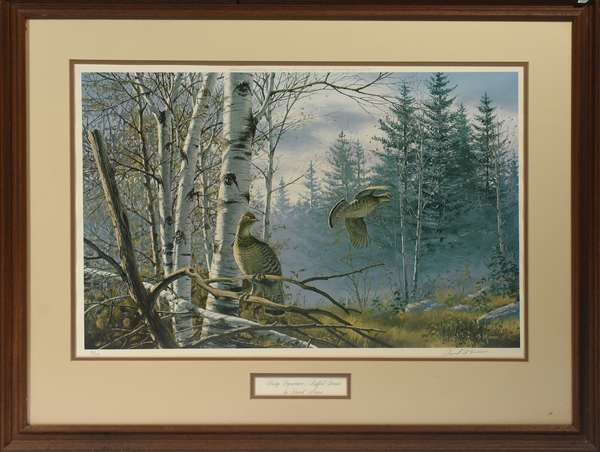 """Hasty Departure Ruffed Grouse, David Mass, lithograph, 17"""" x 26"""""""