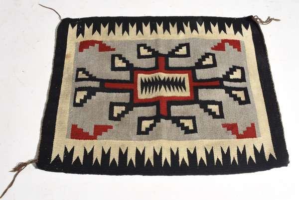 """Small Navajo mat, red, black and tan, 24"""" x 28"""""""