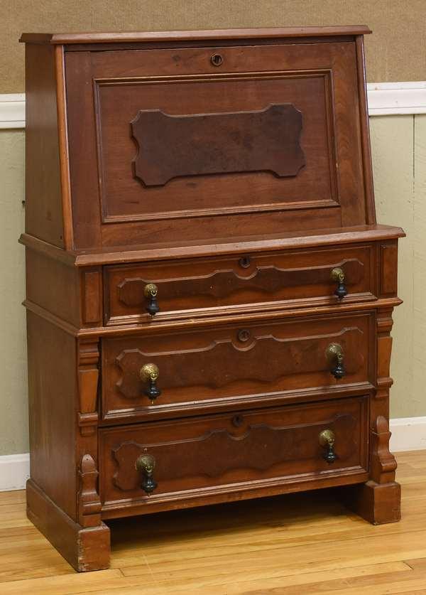 Walnut fall front desk (34-3)