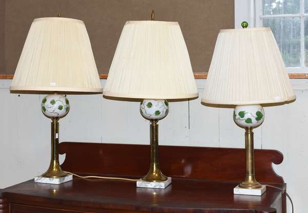 Three table lamps with marble base (34-9)
