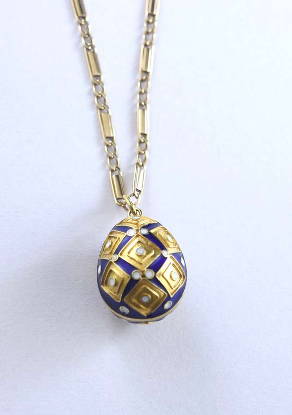 14k gold chain with egg pendant (320-23)