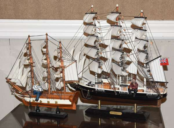 Two ship models made by Donald Dunlap (390-3)