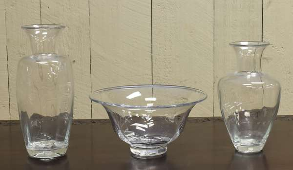 "Three piece of Simon Pearce glass, 13"" and 12"" vases, 12""Dia. bowl (464-2)"