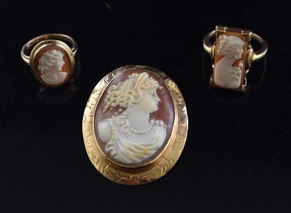 Two cameo rings, one cameo pin (320-33)