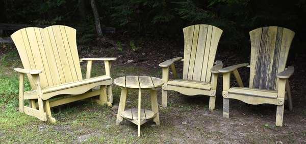 Yellow Adirondack furniture