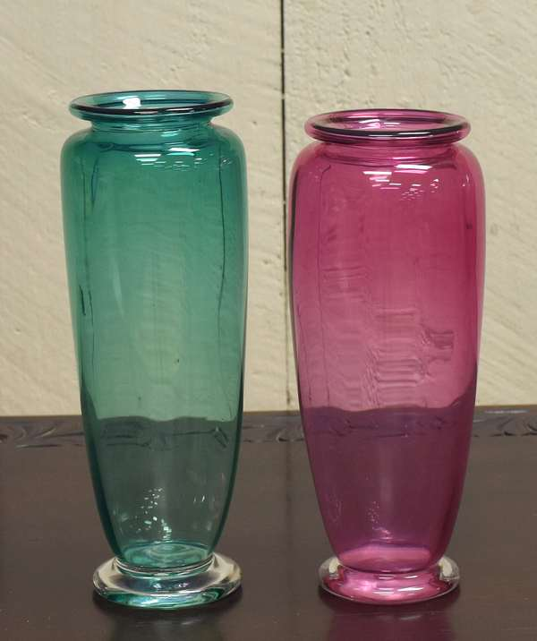 "Two Robinson Scott art glass vases, 10""H. (464-3)"