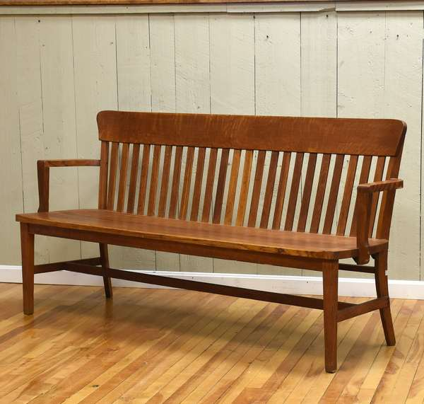 "Long oak bench, ca.1920's, 72""L. x 36""H. back (464-6)"