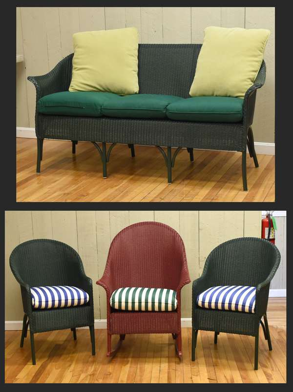 "Four pieces of Lloyd Loom patio furniture, 63""L. bench, two chairs and a rocker (464-7)"