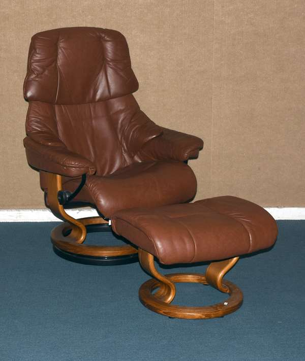 "Ekornes leather stressless armchair with matching ottoman, 40H."" (605-372)"