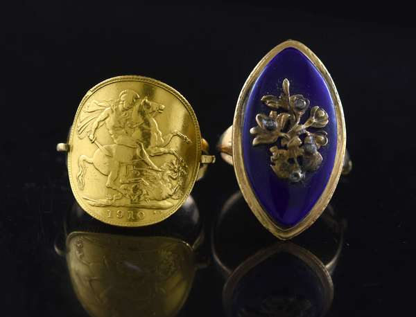 Coin ring and a blue enamel ring (320-40)