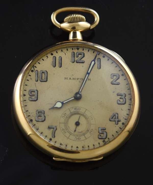 14k Hampden pocket watch (360-822)