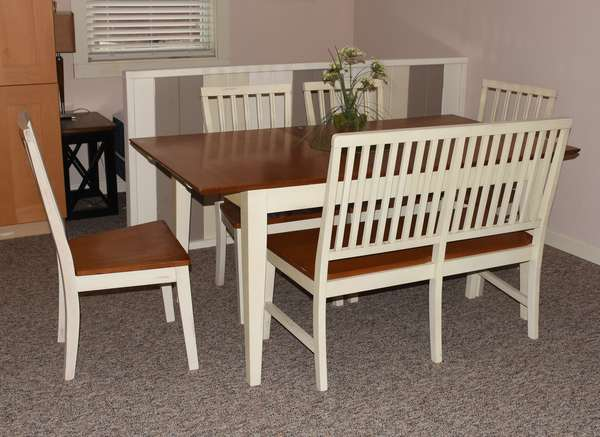 White modern dining set with a bench seat