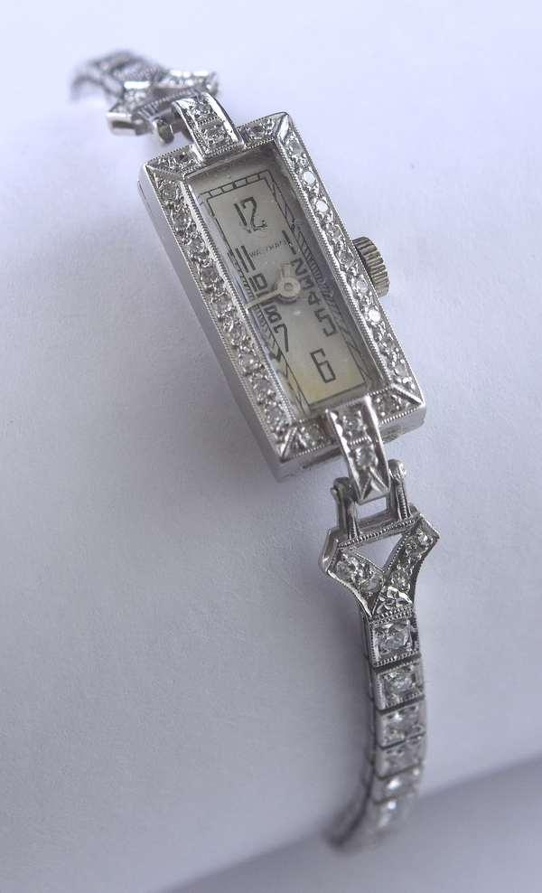 Ladies Hamilton platinum and diamond wrist watch (195-36)