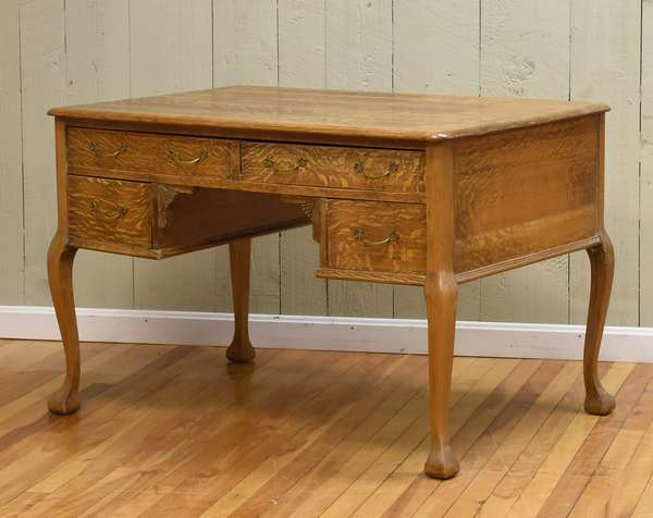"Oak flat top writing desk, ca.1900, 44""L. x 28""D. x 29""H. (464-16)"