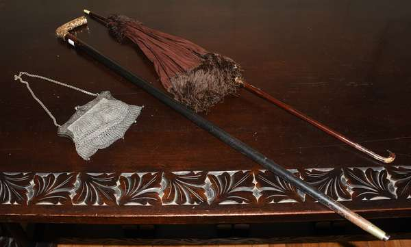 Ladies antique parasol, silver purse and cane (464-17)