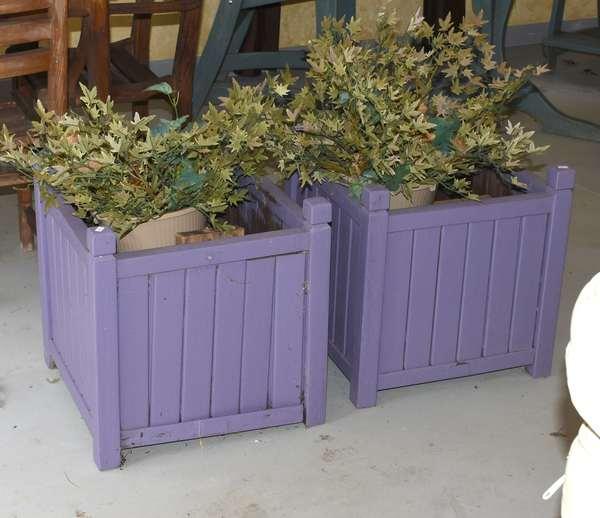 Pair of purple planters