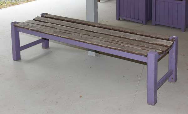 Wooden purple painted bench