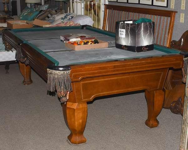 Pool table with three piece slate, needs felt, with pool balls