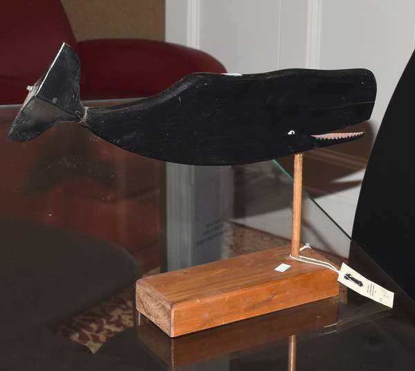 """Carved and painted wooden whale, inscribed on bottom, """"whale carved by William Chase, Nantucket, 1890, purchased by E.L. Brown for Pond House, Kilton Pond, Grafton, New Hampshire"""" 16""""L."""