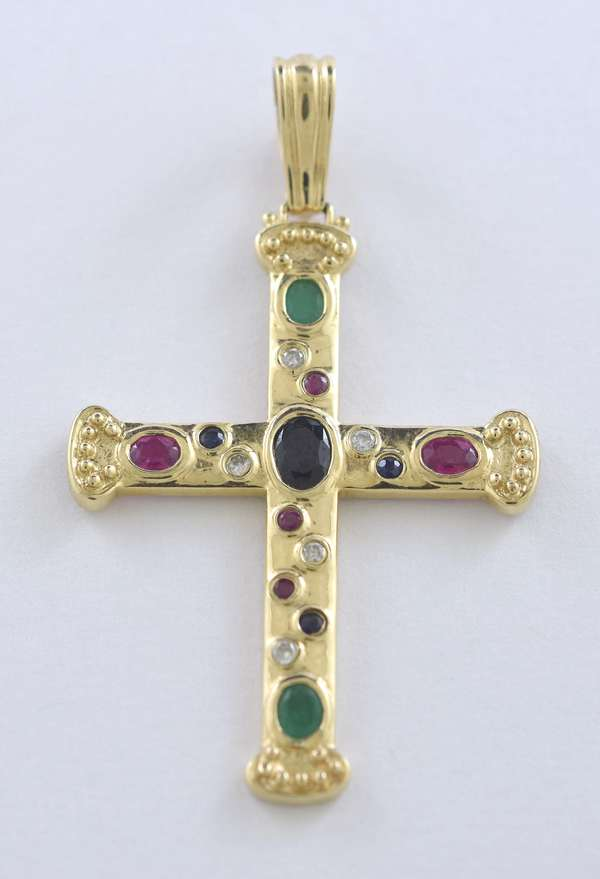 "14k yellow gold cross enhancer set with oval and round emeralds, rubies, sapphires and diamond cabochons, 2.25""L. x 1.5""W. including clasp, 6.3 grams"