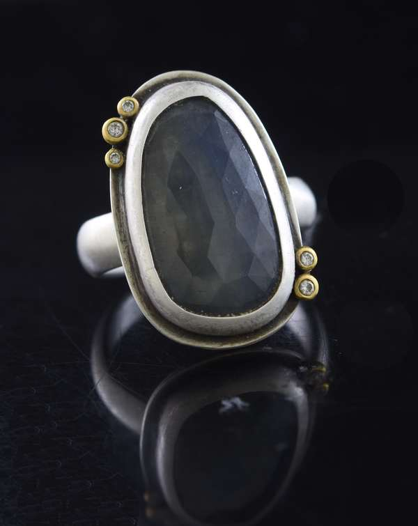 Ananda Khalsa sterling silver ring w/22 kt gold and diamond accents set with faceted sapphire cabochon, size 7.5, 9.8 grams