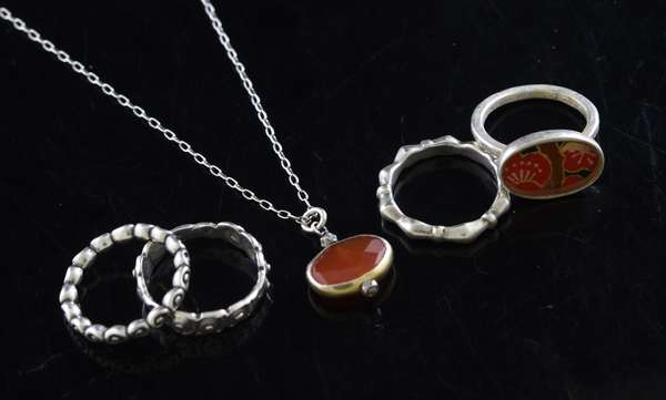 """Silver carnelian necklace, 16""""L., along with four silver rings, three size 6, other size 7, 15.8 grams"""