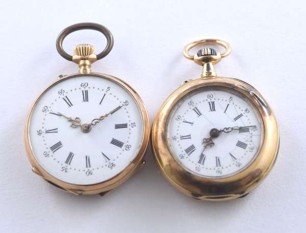 Two lady's 14kt yellow gold (tested) pocket watches w/ enamel, 30 mm case, 23.3 grams, 30 mm w/ monogram, 22.9 gr.
