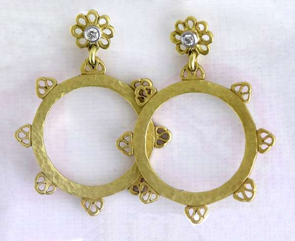 JJ Marco hammered 18kt yellow gold disk dangle earrings w/ approx. .08 ct. tw. diamond accents, 26 mm, 1 1/2 inches long, 7.0 grams.
