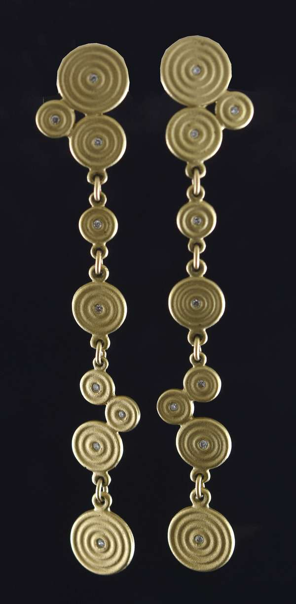 14kt yellow gold (tested) post dangle earrings of clustered circles accented by tiny diamonds, approx. .10 ct. tw., 2 1/4 inches long, 6.9 grams.