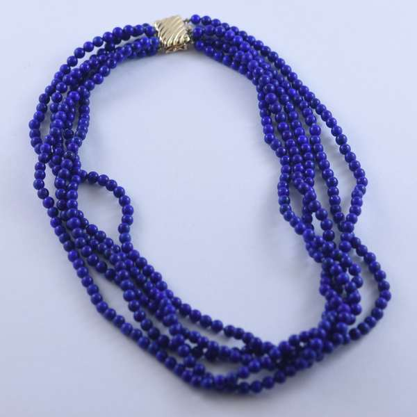 Five strand lapis bead necklace w/ 14kt yellow gold clasp, 4 mm lapis, 16 inches long.