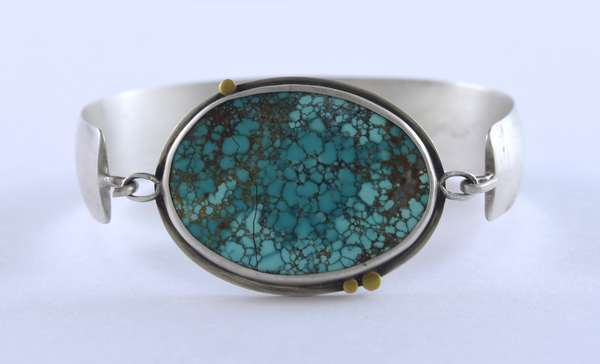 """Ananda Khalsa sterling silver cuff bracelet with 34 x 23 mm oval turquoise cabochon, w/22 kt gold accents, 6.25"""" wrist, 32.7 grams"""