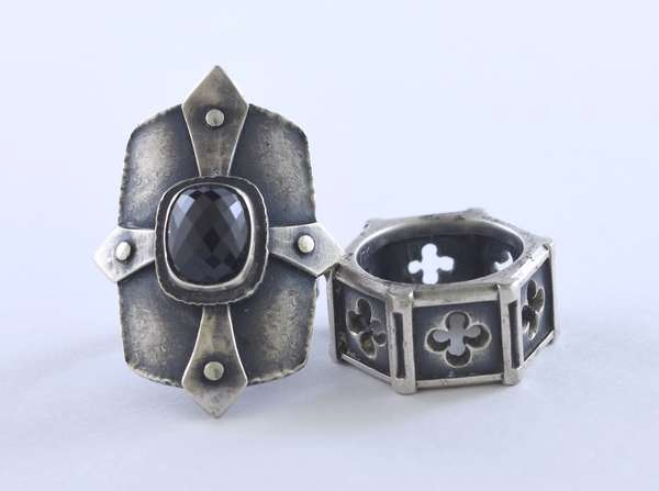 """Two """"Medieval"""" large rings with black stone, 1.5""""W., size 6, signed DLV, 11.5 mm band size 6.5, 27.6 grams"""