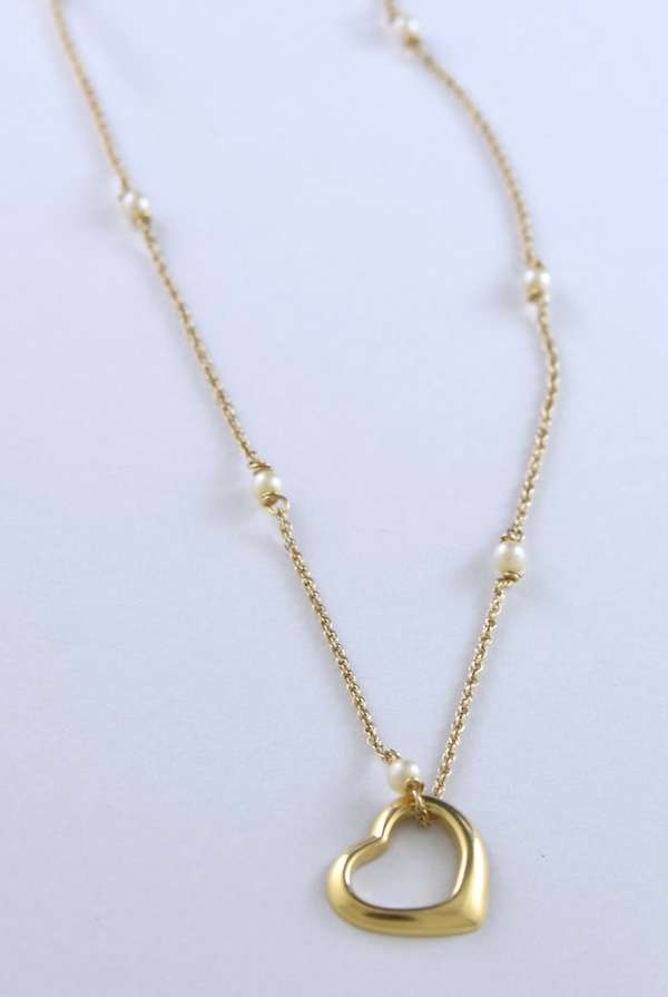Pearl 14kt yellow gold chain with floating heart pendant, 3/4 inch, 15 inches long, 4.5 grams.