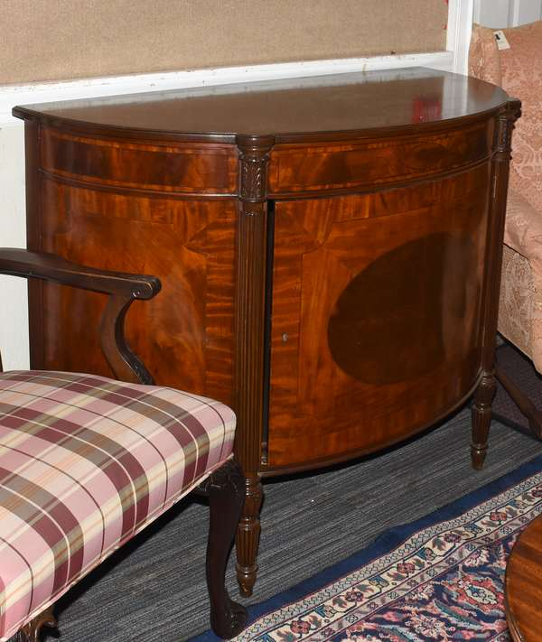 "Mahogany Sheraton style server with cookie corner top reeded posts with inlay, 45""L. x 38.5""H. x 21""D."