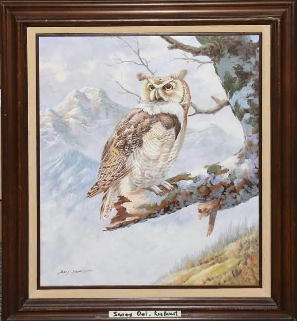 "Oil painting, owl, signed Roy Buest?,23""H. x 19""W."