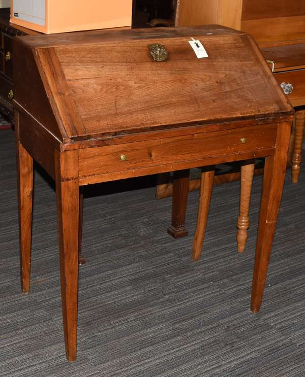 "Country French ladies desk with fitted interior on tapered legs, 29""L. x 36""H. x 18""D."