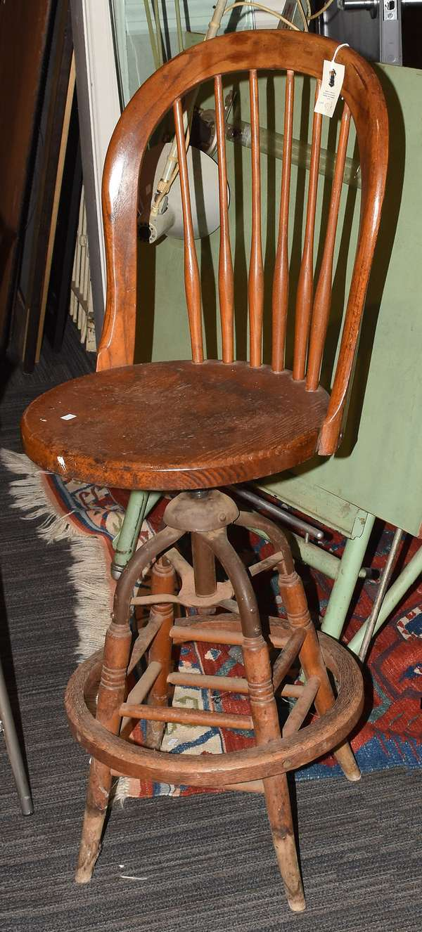 """Victorian drafting stool, made by S. Benj bros., 41""""H."""