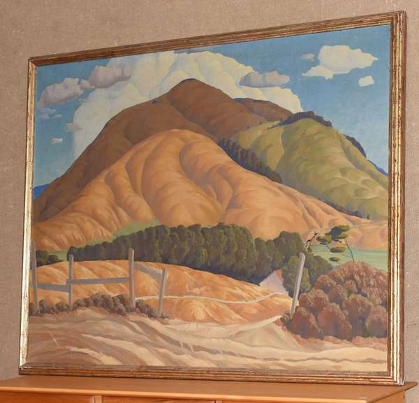 "Large oil on canvas, western mountain scene, signed lower left Stanley Wood, 40"" x 50"""