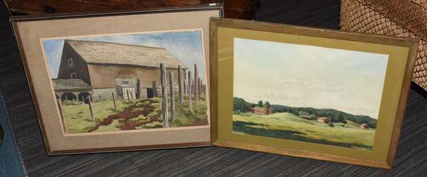 """Two farm scene watercolors signed Stanley Wood, """"Cowles Farm"""", 14"""" x 21""""., with other, 13"""" x 19"""""""