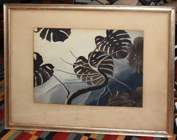 """Watercolor signed Stanley Wood, plants, 17"""" x 21.5"""""""