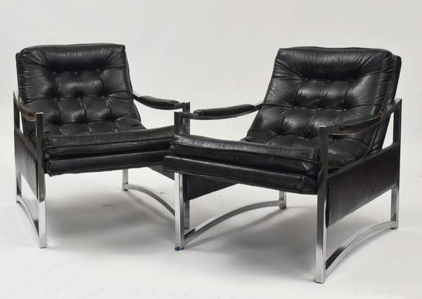 "pair of chrome and black leather arm chairs, 25""W."