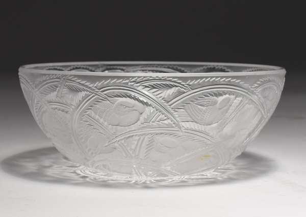 """Lalique crystal """"Pinsons"""" bowl, 9.25""""Dia."""